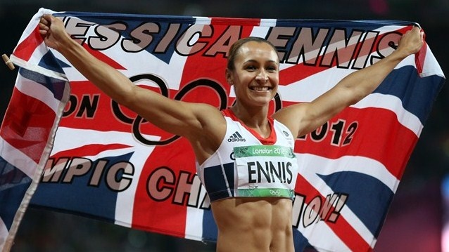 Jessica Ennis of Great Britain reacts after winning gold