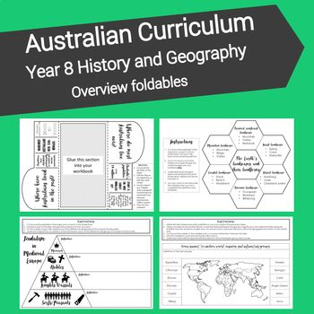 This resource has been designed to reinforce students knowledge and understanding of key geographical and historical terms at level eight of the Australian Curriculum. Included in this product are nine interactive notebook foldables which cover the core knowledge and understanding for
