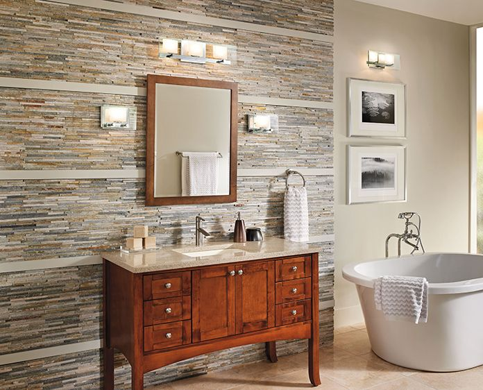 31 best style by room bath images on pinterest bathroom bath see bathroom lighting options with the como collection by kichler aloadofball Image collections