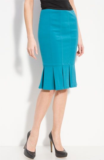 "Nanette Lepore 'Sacada' Pleat Hem Pencil Skirt    A box pleated hemline and vertical seam details define a fitted pencil skirt with plenty of feminine appeal.  Approx. length: 24 1/2"".  Lined.  Rayon/nylon/spandex; dry clean.  By Nanette Lepore; made in the USA of imported fabric.  Individualist.  item #389104  $198.00"