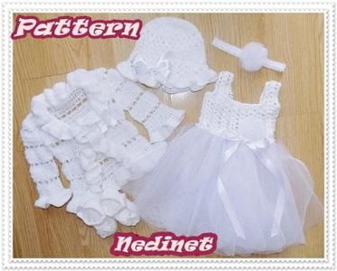 Crochet tulle baby dress set pattern