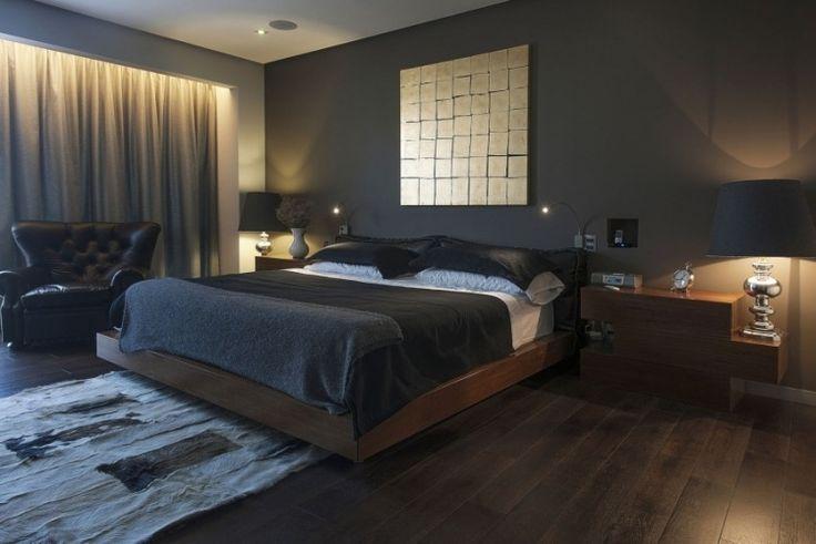 Wandfarbe Anthrazit im Schlafzimmer und dunkle Holzmöbel