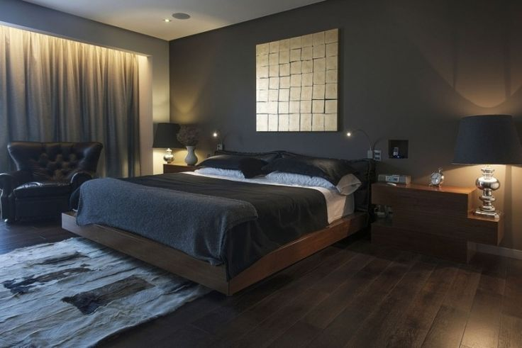 wandfarbe anthrazit im schlafzimmer und dunkle holzmöbel, Schlafzimmer ideen
