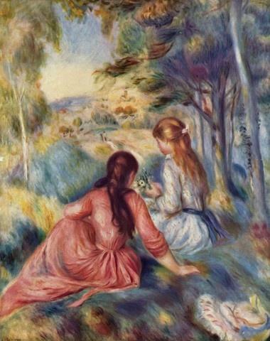 초원의 소녀들 - 오귀스트 르누아르  작품해설: 오귀스트 르누아르의 1890년대 작품으로 인상주의의 표면에서 아련하게 스며 나오는 형언하기 힘든 빛의 아름다움을 선보인다. 화폭에 물감을 그렸다는 느낌보다 색채가 스스로 베어들어들었다고 말하고 싶을 정도로 르누아르적 기법의 절정을 보여주었다. 모네와 더불어 르누아르도 프랑스적인 색채를 명쾌하게 드러낸다.  감상평: 소녀들의 배경이 되는 숲의 모습이 마치 물 흐르듯이 유동적으로 보이고 어딘가로 빨려가는 듯하다. 또한 숲을 표현한 색깔이 다양하여 화려하면서도 묘한 느낌을 준다. 이러한 몽환적인 배경을 바탕으로 소녀들의 모습이 더 부각되는 것 같다.