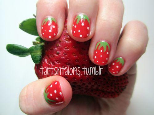 Strawberry nail art: Manicures Nailart, Polka Dots, Nailpolish Manicures, Nails Art, Accent Nails, China Glaze, Eating Strawberries, Dots Strawberries, Strawberries Nails