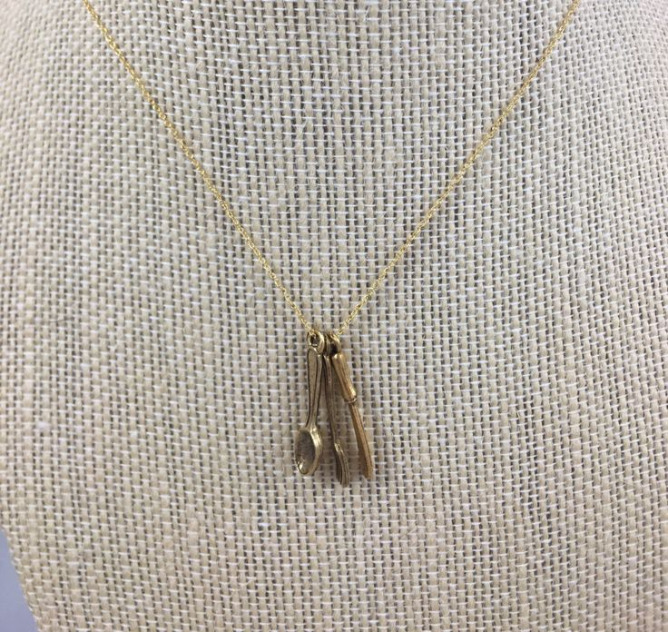 Gold Spoon, Knife, Fork Necklace