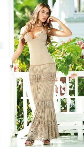 Sexy Beige Khaki Beach Gown Hot Crepe Skirt Long Summer Halter