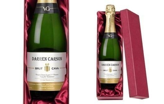Personalised Cava Contemporary Label in a Silk Lined Gift Box | The Personalised Gift Shop