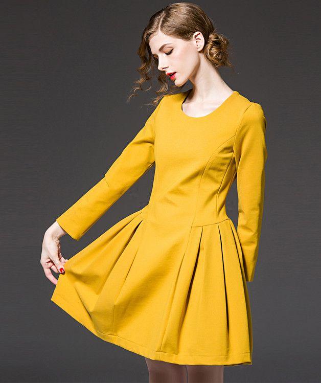 Modern Yellow Plus Size Dresses   https://onmogul.com/products/yellow-plus-size-dresses-o-neck-fashion-clothing