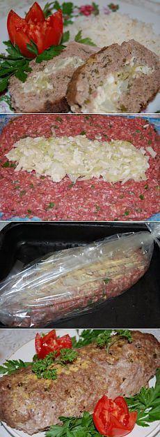 Рулет мясной с капустой и яйцом, запечённый в рукаве : Вторые блюда
