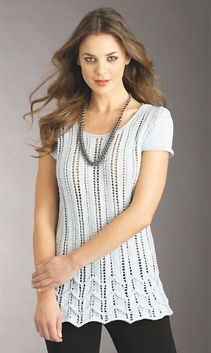 knit lacy chevron short-sleeved top free knitting pattern - note british measurements | Free Knitting Patterns for Tops, Tanks, and Tees at http://intheloopknitting.com/tops-tanks-tees-free-knitting-patterns/