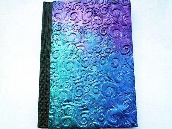 Polymer clay journal / purple diary / purple notebook / blue purple / swirls / pattern diary / blue diary / blue pattern