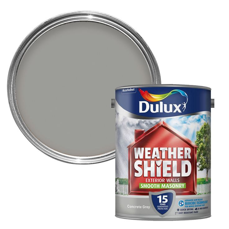 Dulux Weathershield Concrete Grey Masonry Paint 5L | Departments | DIY at B&Q