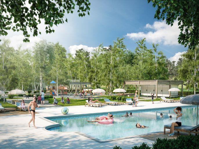 Wizualizacja nowego osiedla Triton Country W Starej Wsi pod Warszawą- Odkryty basen + Plac zabaw Lars Laj. Marzenie