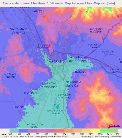 Oaxaca de Juarez,Mexico Elevation Map