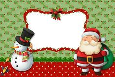 Moldura Convite e Cartão Papai Noel e Boneco de Neve: