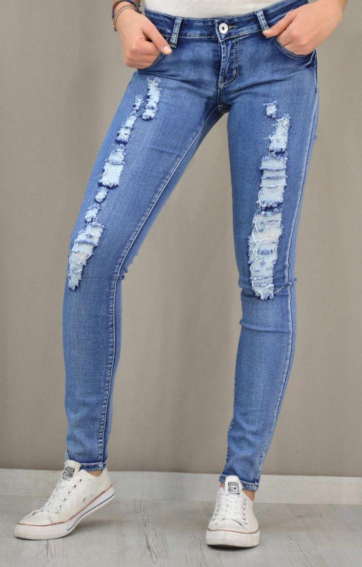 Γυναικείο τζίν skinny με σκισίματα. | Παντελόνια jeans - Jeans &