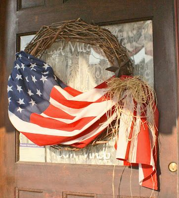 Patriotic Wreath....great use for an old flag.