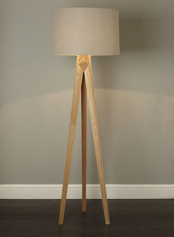 BHS // ILLUMINATE // Zach Tripod Floor Lamp // carved wooden tripod floor lamp with a grey linen drum shade