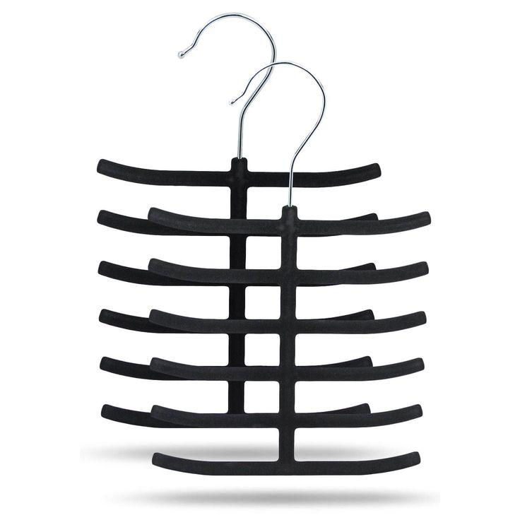 International Sorbus Velvet Tie Hangers (2-pack) (Black)