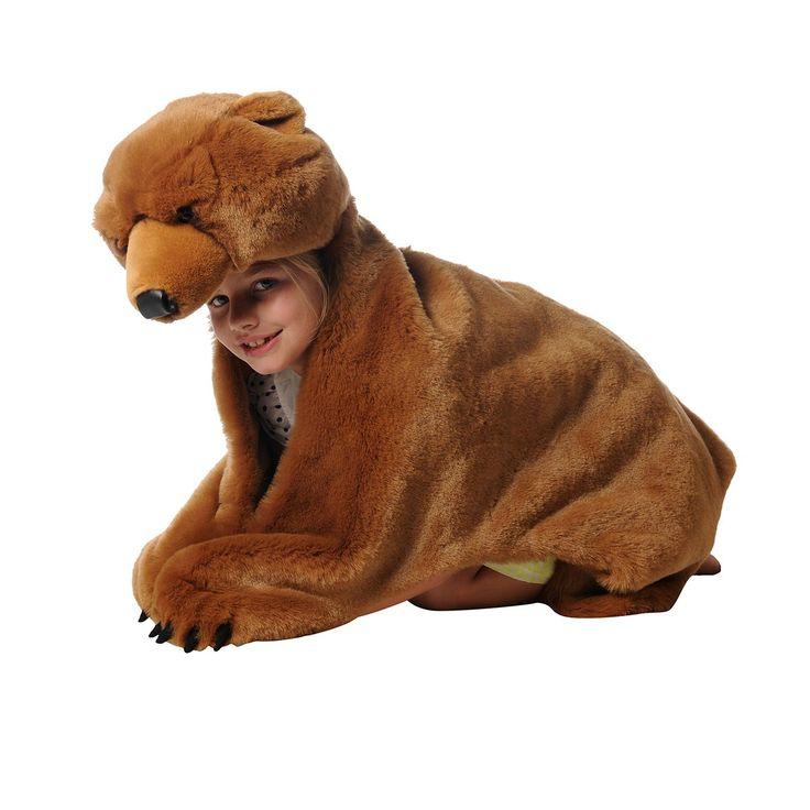 Déguisement peluche Ours brun - Grâce à sa tête et à ses pattes enfilables, cette peau d'ours brun en peluche est le déguisement rêvé de tous les enfants ! Doux et plus vrai que nature, il sert aussi de tapis de jeu et d'accessoire déco dans une chambre ou une salle de jeux. Mignon, glouton ou sauvage… Votre enfant imaginera ses propres histoires en se glissant dans la peau d'un animal particulièrement attractif !