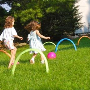 Take a little bit of kickball and a lot of croquet, and you' have yourself an awesome Kick Croquet Kids' Game. Affordable games for kids to play like this mean little cost and big reward. See if you have what it takes to kick the ball to the end firs