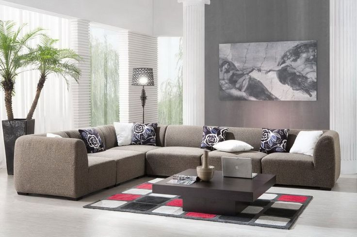 Simple living room interior design with big picture interior design