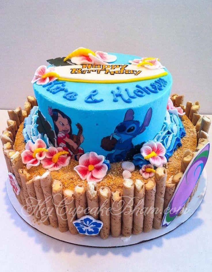 LILO and stitch birthday cake Hawaiian beach surfboard theme