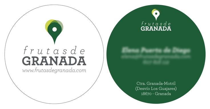 "Business cards for ""Frutas de Granada"" (Fruits from Granada)."