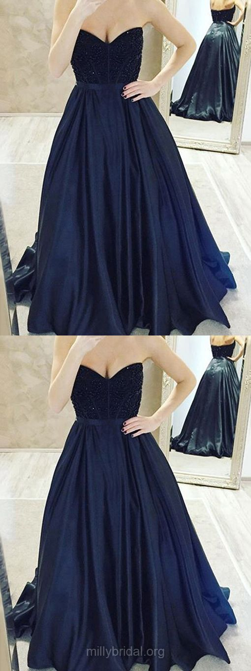 Prom Ball Gowns, Black Prom Dresses Long, 2018 Prom Dresses Princess, V-neck Prom Dresses Satin with Beading