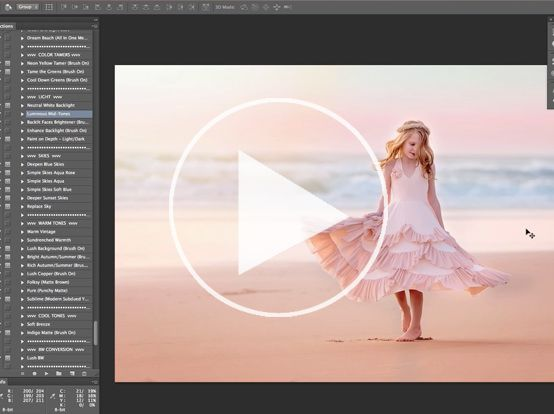Outdoor and Portrait Photoshop Actions. Lush, jewel-hues or soft and dreamy effects. Light and skies, bokeh. All-in-one workflow edits plus beach, outdoor and portrait tools.