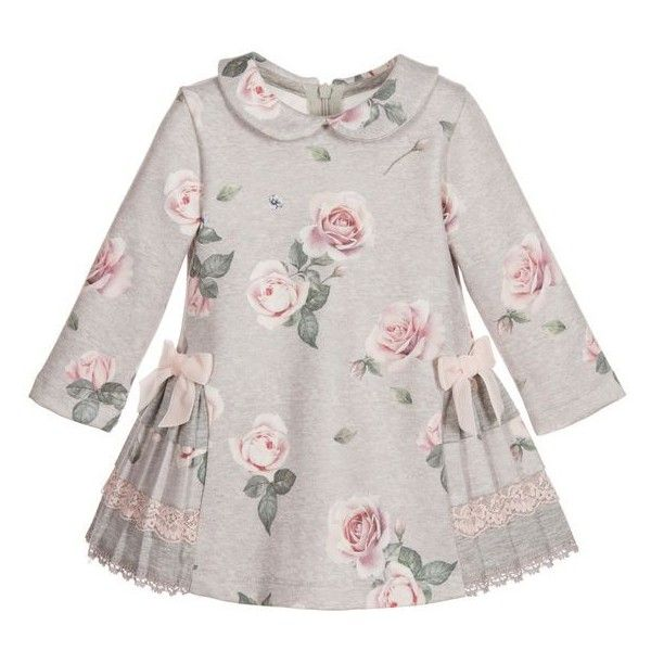 Lapin House Grey Rose Printed Jersey Dress ❤ liked on Polyvore featuring dresses, long sleeve dresses, rosette dress, grey long sleeve dress, pleated dresses and longsleeve dress