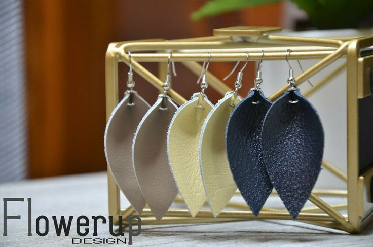 Details about Leather Earrings, Set of 3, navy camel yellow special offer, Joanna Gaines Style