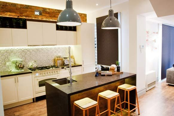 pressed metal splashback, exposed brick, industrial lights, wood feature  Recycled Vintage Kitchen  The Block 2012: Sophie and Dale's Kitchen