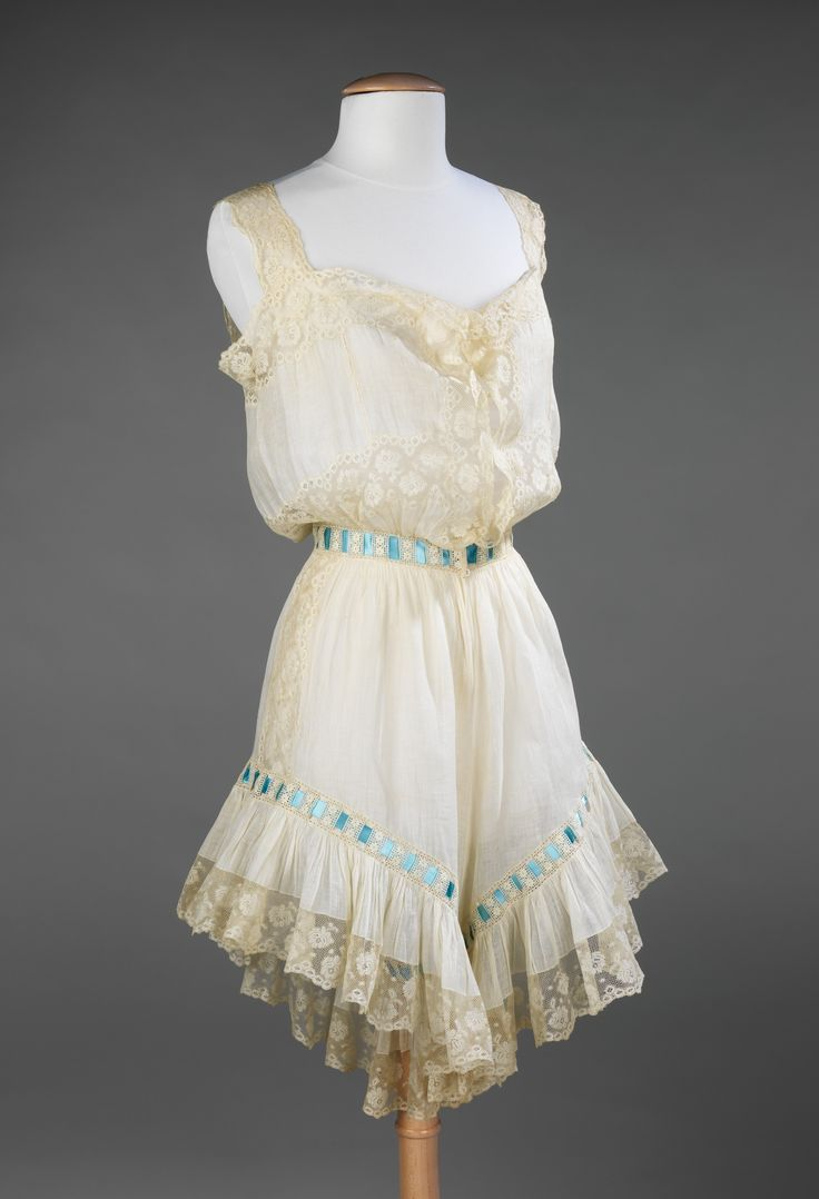 Combination (Drawers and Chemise): ca. 1890-1900, American, linen, silk.