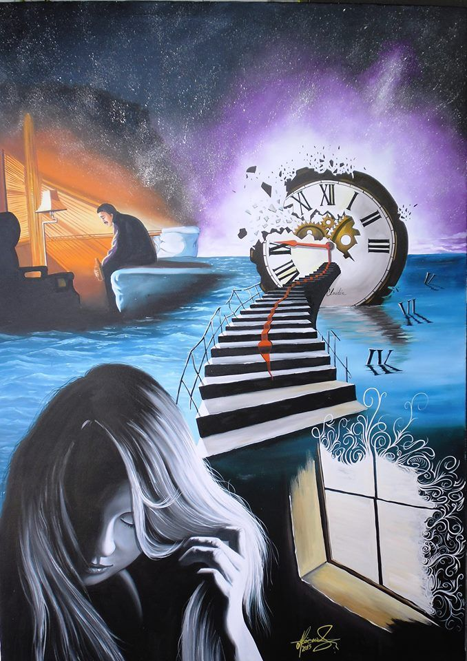 """Wasted Time"" Oil on canvas. #art #painter #painture #surrealism"