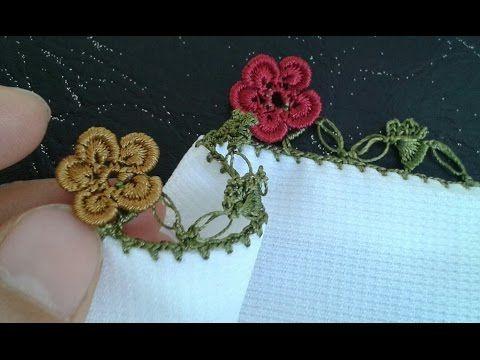 Fıstıklı tığ oyasından çiçek yapım videosu - YouTube