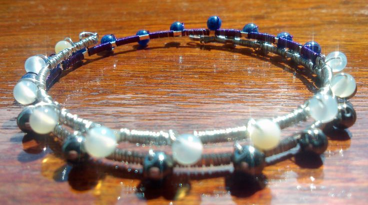 Semi-precious wire wrapped bangle with sodalite, haematite and oatmeal agate - purple and silver, wrist party, arm candy, semi precious gems by UndercoverZebra on Etsy