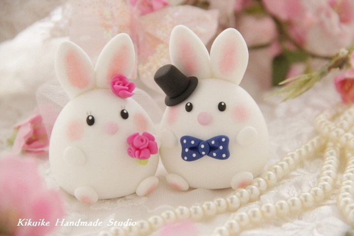 bide and groom rabbit and bunny Wedding Cake Topper---Casual Collection. $80.00, via Etsy.