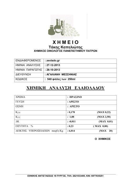 Χημική Ανάλυση Ζεόλαδου  http://zeolado.gr/el/άρθρα-ζεόλαδο-ελαιόλαδο-ζεόλιθος/129-χημική-ανάλυση-ζεόλαδου.html