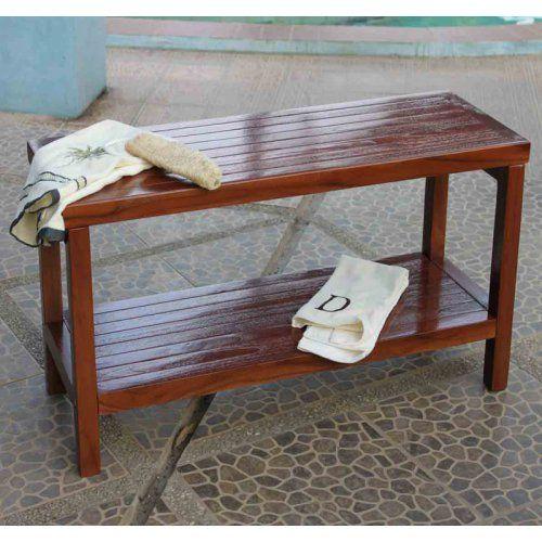 Decoteak Classic Teak Spa Shower Stool with Shelf - No Arms - Shower Seats at Hayneedle