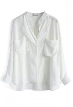Neutral Batwing Crepe Shirt in White - Retro, Indie and Unique Fashion
