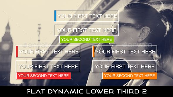 Flat Dynamic Lower Thirds 2  24 Lowerthirds | Full HD 1920×1080 | Quicktime PNG alpha codec | Each 10 seconds.  Available in 4 colors : Blue, Green, Red, Orange  Download it here : https://videohive.net/item/flat-dynamic-lower-thirds-2/21048340  If you love my work, don't forget to rate it. Thank you.  #videohive #motiongraphic #aftereffects #broadcast #caption #color #corporate #elegant #flat #lowerthird #modern #presentation #professional #simple #television #text #title #youtube
