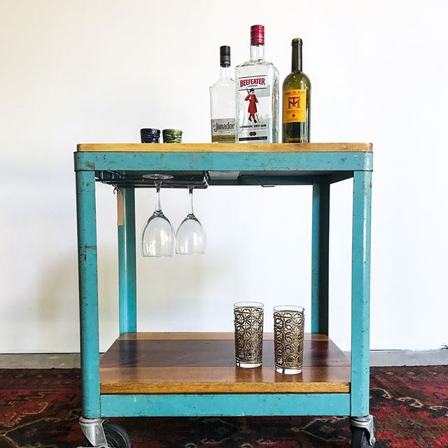 ✨Happy Saturday! Check out this lovely little industrial bar cart made from repurposed vintage items. AND it has its own built in wine glass storage! ✨($295) #cheers #saturday #falldecor #fall #bar #brunch #home #restaurant #drinks #furnituredesign #interiordesign #interior #inspo #midcenturymodern #midcentury #retro #vintage #adorable #instagood