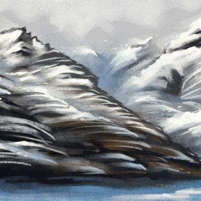 Mountain Study – New Zealand  #mountain #snow #digitalart #digitalpainting #newzealand
