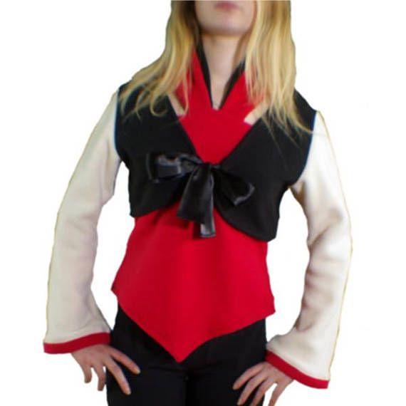 Pull polaire noir-écru-rouge twin set-boléro-dos nu