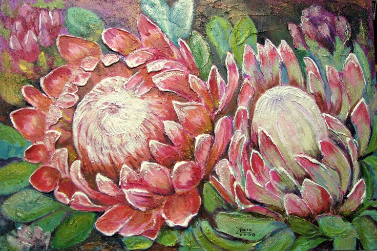 Proteas painted with acrylics on textured canvas Size 75cm x 50cm