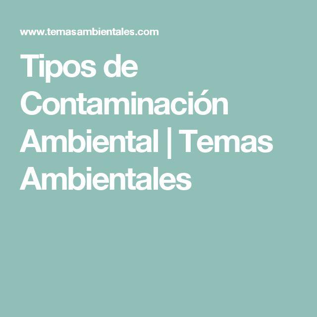 Tipos de Contaminación Ambiental | Temas Ambientales