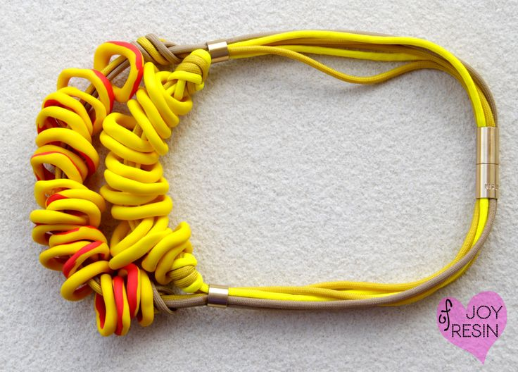 Rope necklace#colorul jewelry#summer tones#true yellow/red/beige#neon colors#Tribal inspired#African fashionista style#everyday look#brass by JOYofRESIN on Etsy