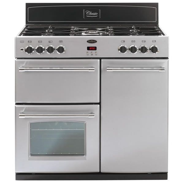 Belling CLASSIC 90DFT SILVER 900mm Dual Fuel Range Cooker 5 Burners Inc. WOK Silver